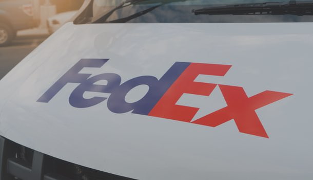 Photo of the front of a FedEx truck